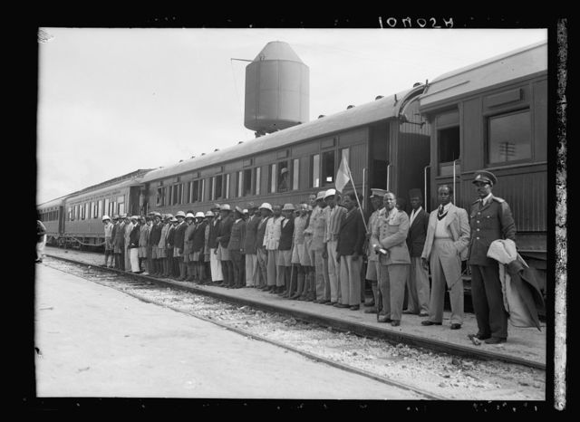 Ethiopians leaving by train for the war in Abyssinia