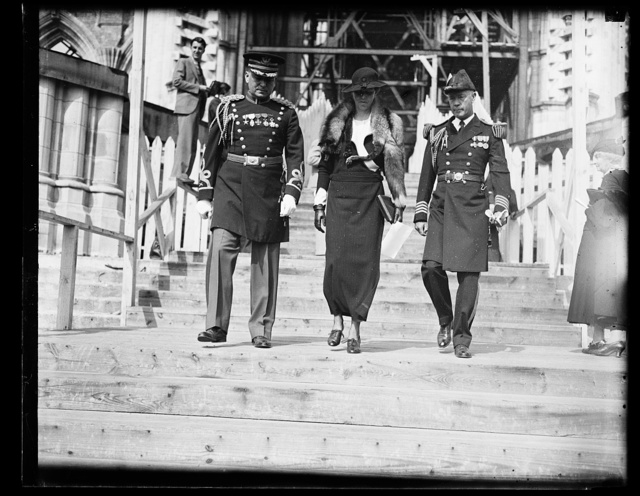 FIRST LADY ATTENDS SERVICES FOR DEAD KING. MRS. ROOSEVELT ATTENDED THE SERVICES HELD IN THE NATIONAL CATHEDRAL AT WASHINGTON IN HONOR OF KING ALEXANDER OF JUGO-SLAVIA, MURDERED MONARCH WHO WAS BURIED IN BELGRADE TODAY. MRS. ROOSEVELT WAS ACCOMPANIED BY WHITE HOUSE AIDES, COL. EDWIN M. WATSON, U.S.A., LEFT, AND CAPT. WILSON BROWN, U.S.N.