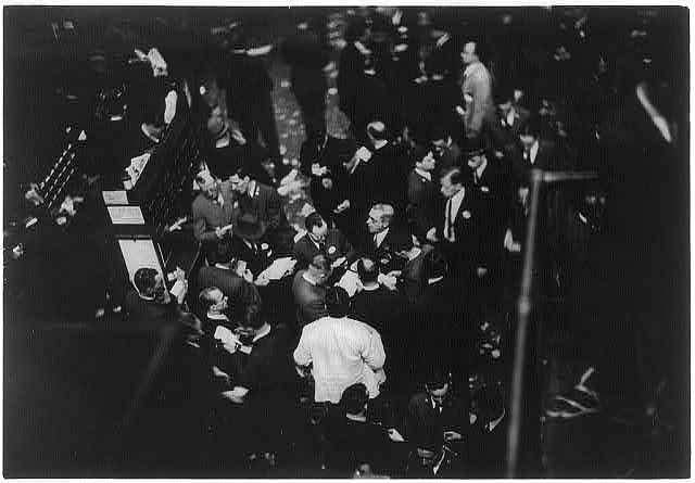 Floor of New York Stock Exchange: with Sinclair crowd