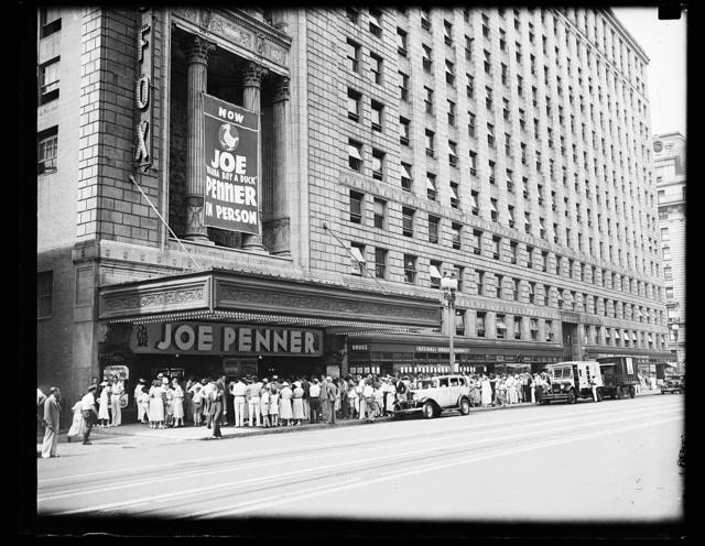"[Fox Theater: Joe ""Wanna Buy a Duck"" Penner in person. Washington, D.C.]"