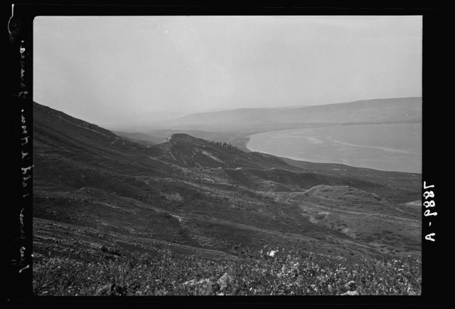 Gamala (Kal'at el-Huson east of the Sea of Galilee). Telephoto view from summit looking S. showing ruins on southern hill identified as possible Gamala Samakh & S. end of Sea