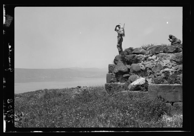 Gamala (Kal'at el-Huson east of the Sea of Galilee). View from the summit looking across the lake showing Mt. Tabor on horizon with Mr. Grossman