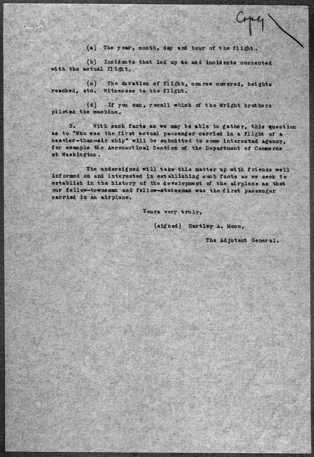 General Correspondence:  Thomas, William H., 1934