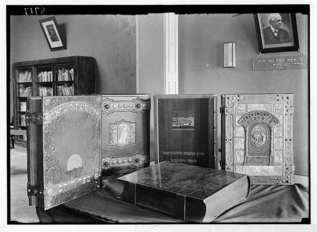"""""""Golden books"""" of Honour. Records stored in Zionist Executive bldgs. on King George Ave., Jer. [i.e., Jerusalem] """"Golden books"""" (four) imperishable pages of specially treated parchment"""
