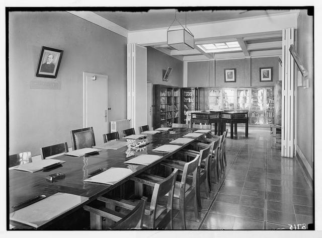 """""""Golden books"""" of Honour. Records stored in Zionist Executive bldgs. on King George Ave., Jer. [i.e., Jerusalem] Board room of the """"golden books"""" in the Zionist bldgs."""
