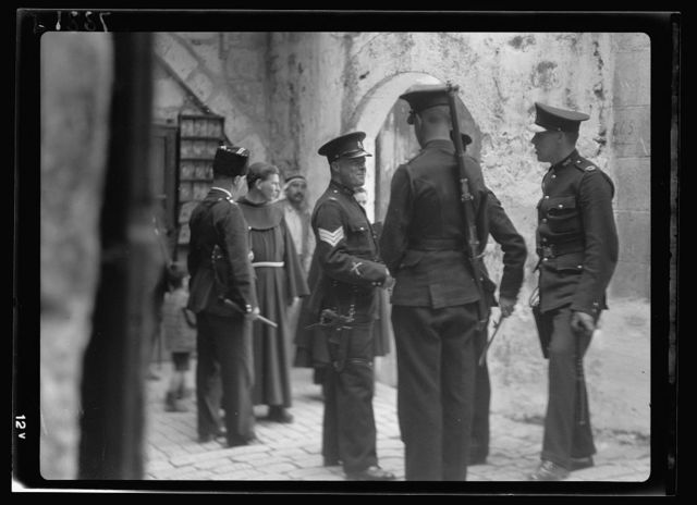 Group of Br. [i.e., British] police at entrance into courtyard of the Ch. of H. Sepulchre [i.e., Church of the Holy Sepulchre]