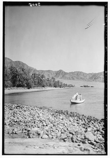 Gulf of Akaba. Head of the Gulf. Showing mountains on the Hedjaz [i.e., Hejaz] side