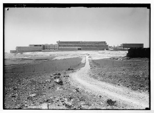 Hadassah University on Scopus. General view of the Hadassah University Hospital on Mt. Scopes in process of building