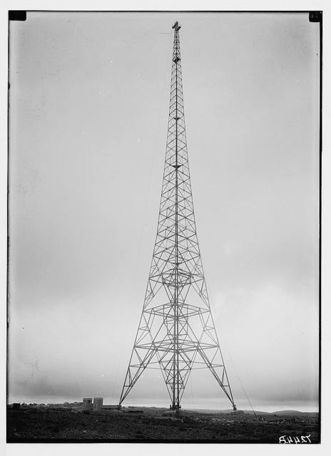 Int. [i.e., international] Broadcasting station, Ramallah. Various of tower. Close up films