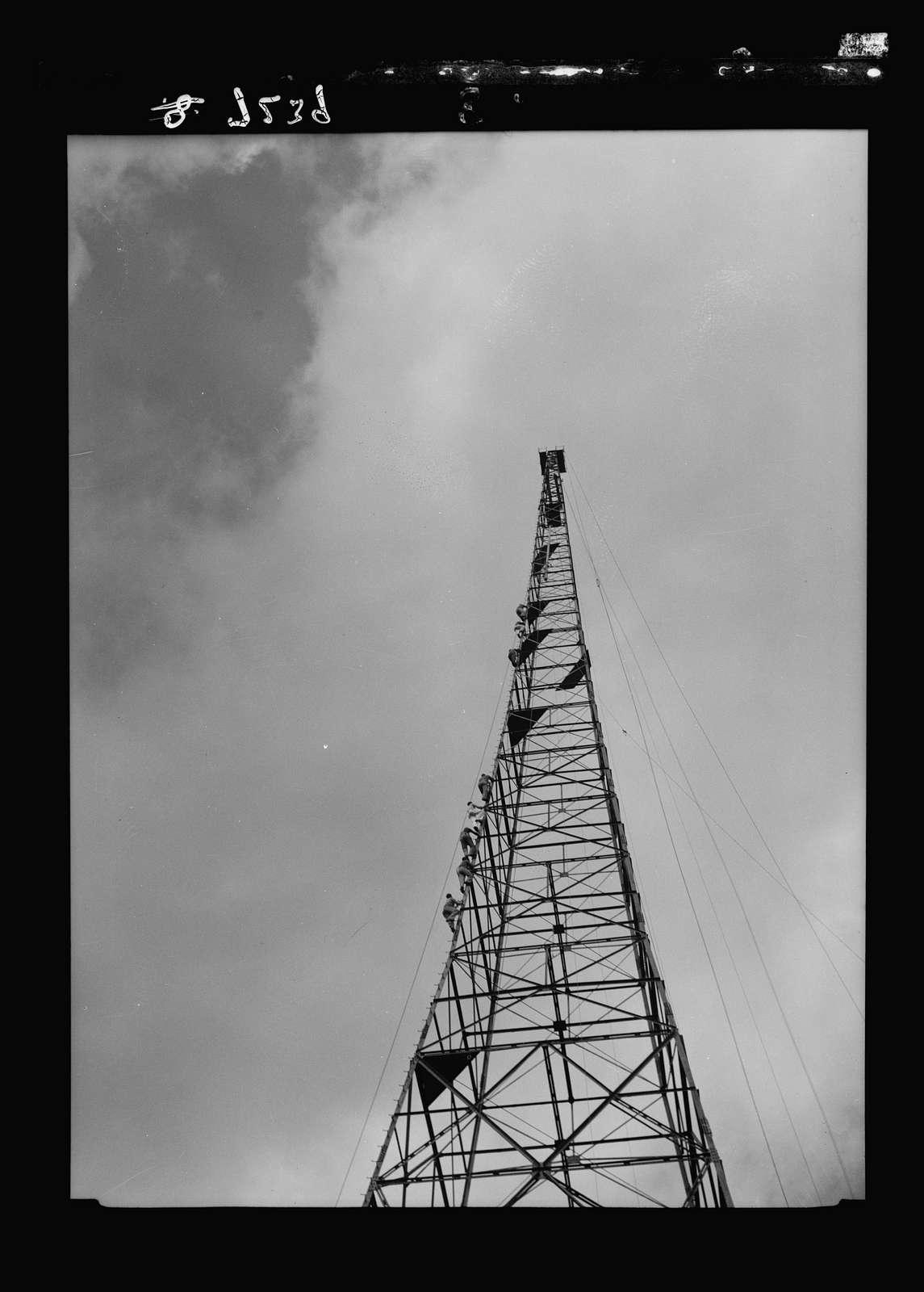 Int. i.e., international broadcasting station, Ramallah. Various of tower. Close up
