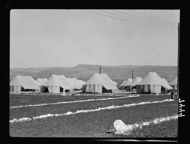 I.P.C. [i.e., Iraq Petroleum Company] camp. Nazareth hills in distance