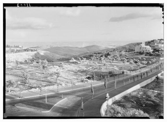 Jerusalem, scene from press bureau in David bldg. [i.e., building]. With evening light on Moab