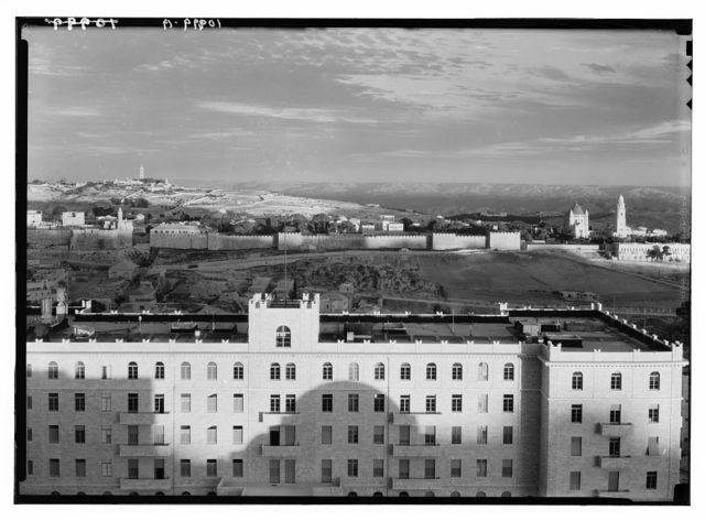 """Jerusalem, view from """"Y"""" tower of evening light on Mts. of Moab, Olivet & city wall, etc."""
