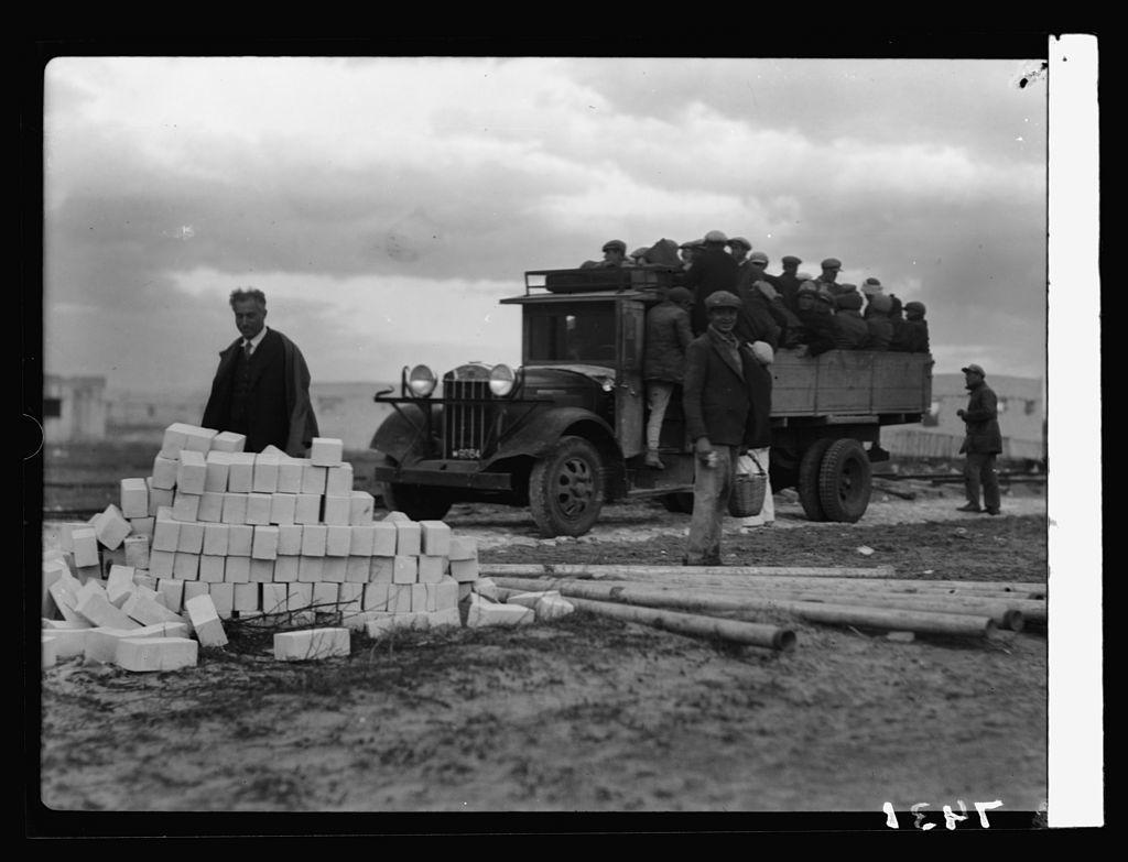 Jewish colonies. Haifa Bay project. Building & sand tractors
