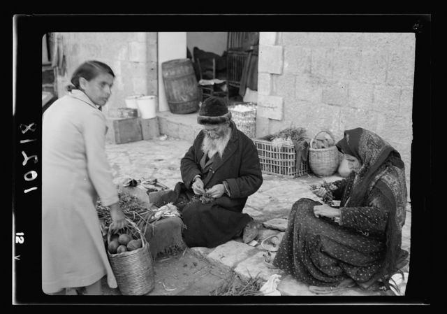Jewish market in Mea Shearim. Bokhara Quarter, Bokharian [i.e., Bukharan] type selling vegetables