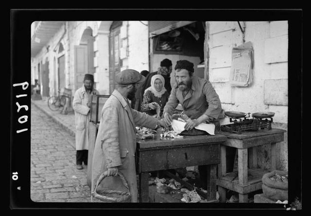 Jewish market in Mea Shearim. Mea Shearim, fishmonger