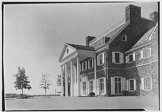 John N. Conyngham, Hayfield Farm, residence in Lehman Township, Pennsylvania. Portico and house from right, horizontal