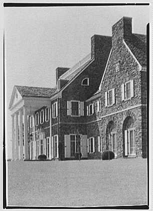 John N. Conyngham, Hayfield Farm, residence in Lehman Township, Pennsylvania. Portico and house from right, vertical