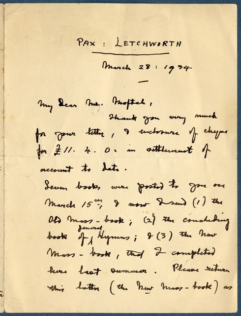 Letter from Ernest Newlandsmith to Ragheb Moftah, March 28, 1934