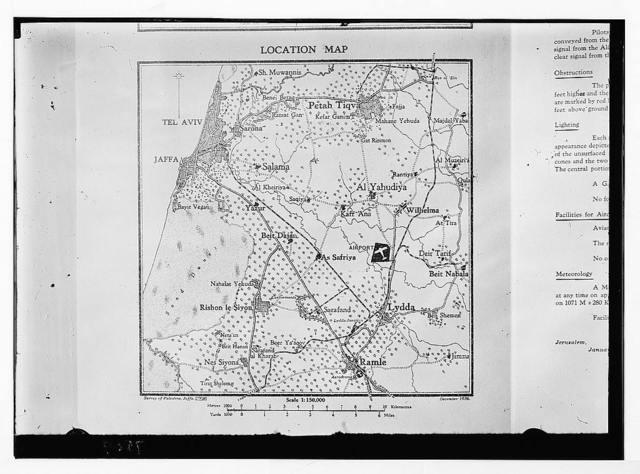 Location map of Lydda aerodrome