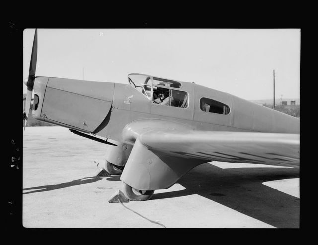 Lydda Airport. Major Gumbly, with his private flying machine, closeup