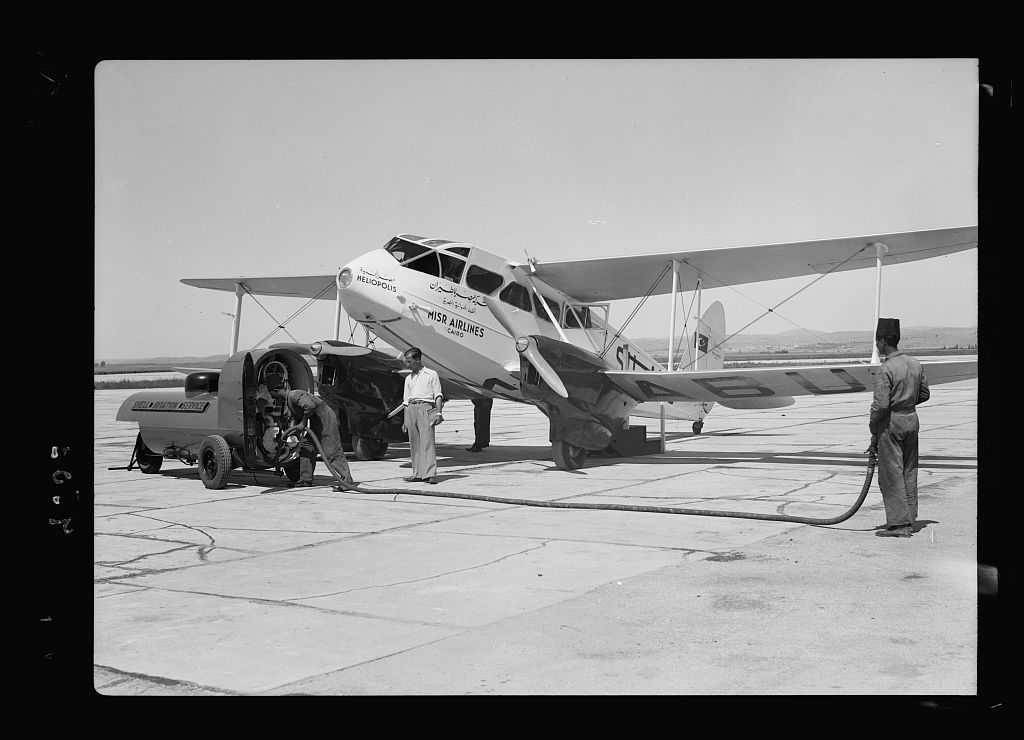 Lydda Airport. Misr airplane refuelling