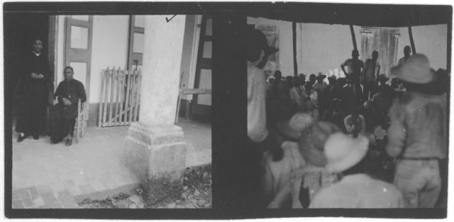 [Man sitting on doorstep and a group of people inside building, photos taken during recording expedition in Nassau, Bahamas]