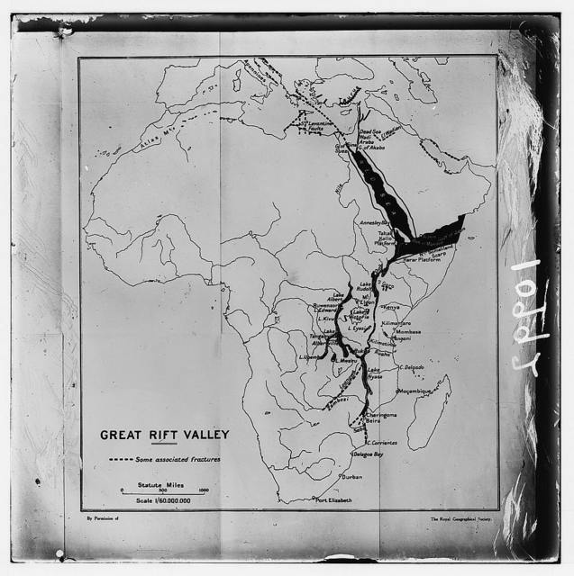 """Map of Africa showing the """"Great Rift Valley"""" cont'in of Jordan Valley"""