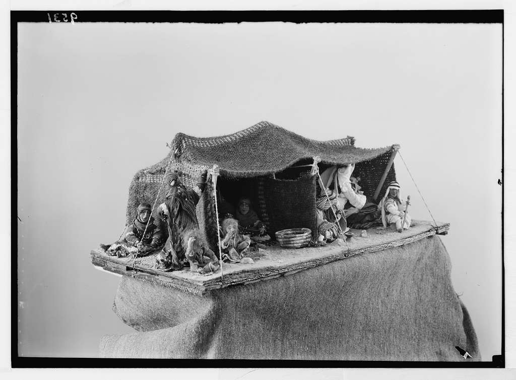 Models taken for Mrs. Bowen. Model of Bedouin tent. Needle work