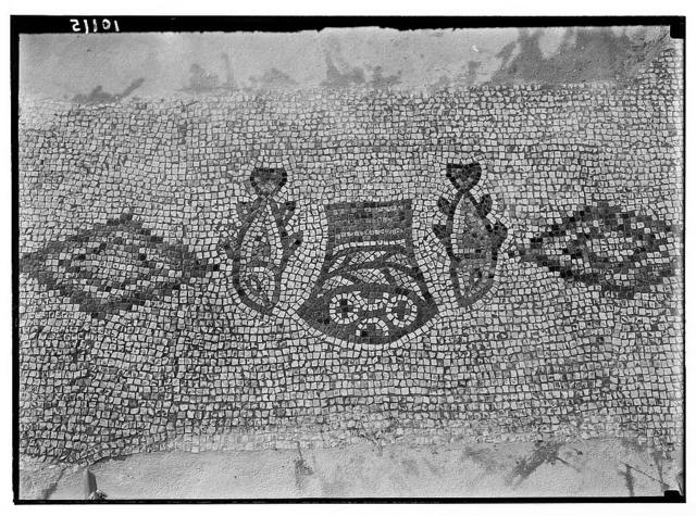Mosaic of loaves & fishes at Tabgha