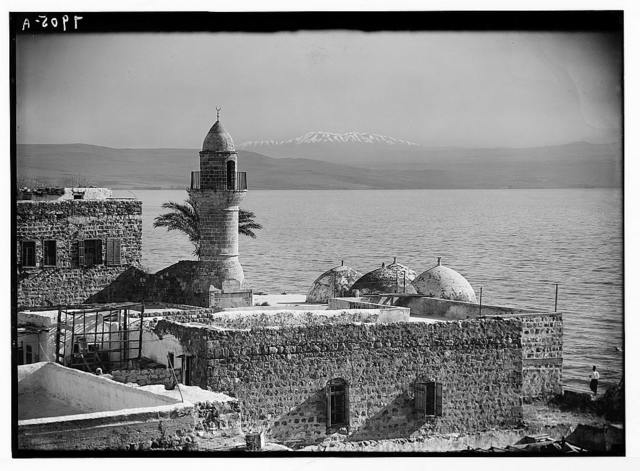 Mount Hermon from Tiberias. Moslem [i.e., Muslim] mosque in foreground