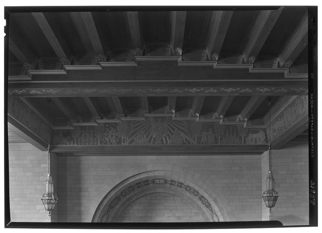 Nebraska State Capitol, Lincoln, Nebraska. House chamber, detail, ceiling over rostrum
