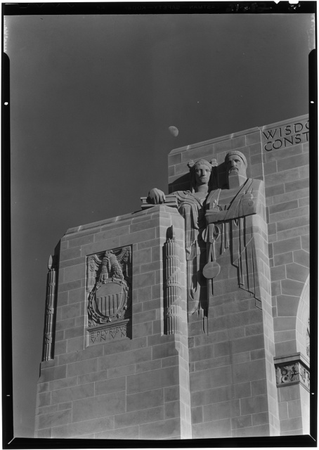 Nebraska State Capitol, Lincoln, Nebraska. North facade, detail, left figures and seal, p.m.