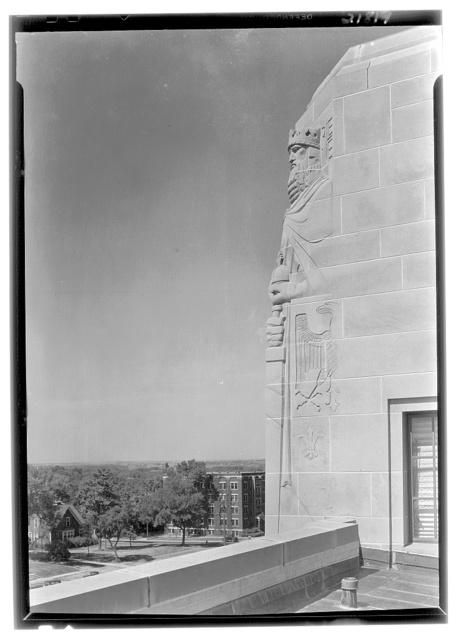 "Nebraska State Capitol, Lincoln, Nebraska. Sculpture detail ""Charlemagne"""