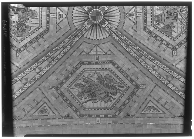 Nebraska State Capitol, Lincoln, Nebraska. Senate chamber, ceiling detail, war party