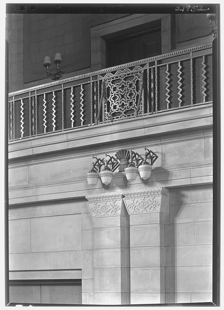 Nebraska State Capitol, Lincoln, Nebraska. Senate chamber, pier caps and balcony rail