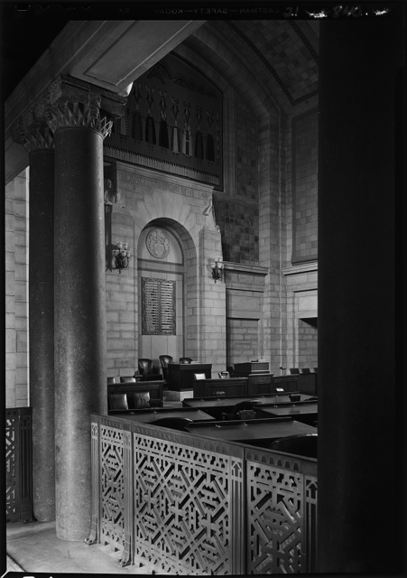 Nebraska State Capitol, Lincoln, Nebraska. Senate chamber, rail and rostrum