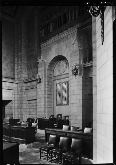 Nebraska State Capitol, Lincoln, Nebraska. Senate chamber, rostrum from right