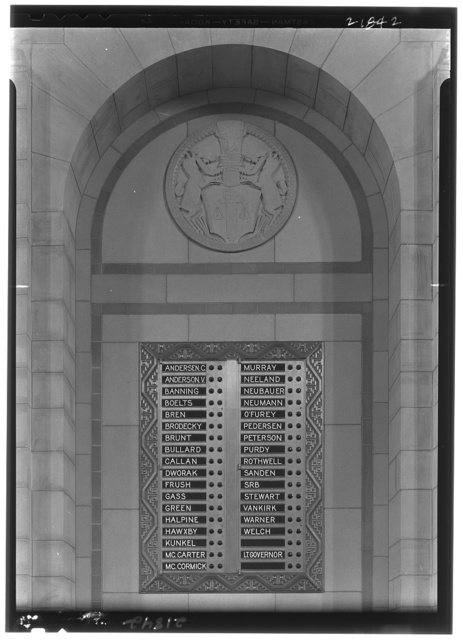 Nebraska State Capitol, Lincoln, Nebraska. Senate chamber, voting panel