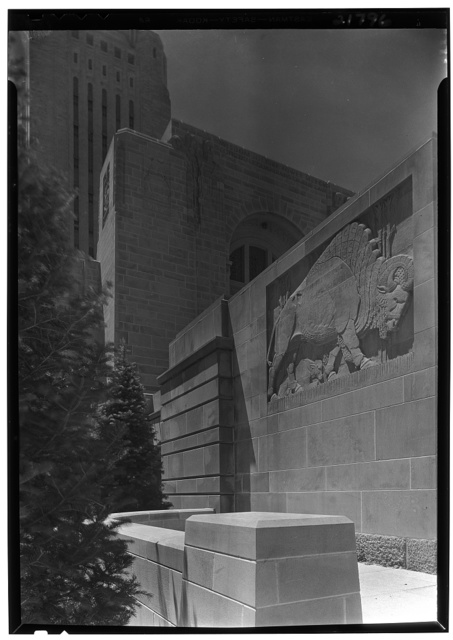 Nebraska State Capitol, Lincoln, Nebraska. Up shot, east buffalo panel to tower