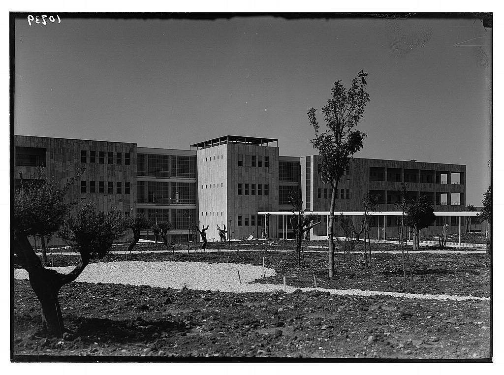 New Hadassah University Medical Centre, Jerusalem (Scopus). Façade of one of the main wings; that of the general hospital & the maternity ward