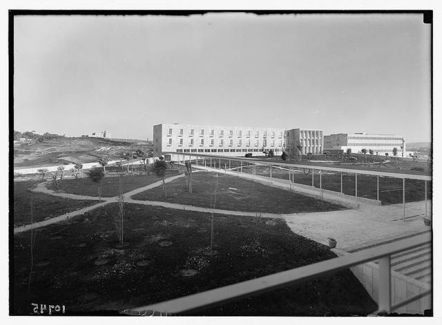 New Hadassah University Medical Centre, Jerusalem (Scopus). Pan. [i.e., panorama] of nurses' home, medical school bldg. [i.e., building] & university & library