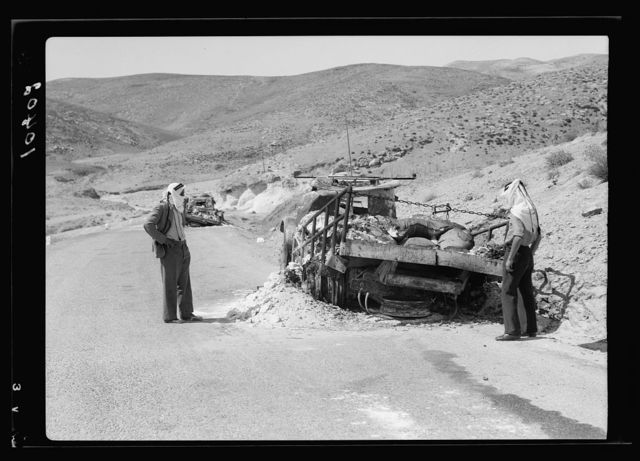 Palestine Potash lorries burned down on the Jericho road