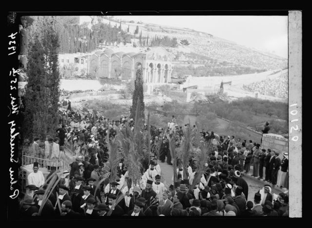 Palm Sunday procession near Gethsemane