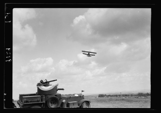 R.A.F. activities. Plane arriving in response to flare light signal [Ramleh Aerodrome]