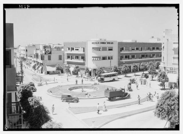 "Ramleh, Tel-Aviv. Tel-Aviv, ""the Colony"" Square. The Ki Kar Hamo Shavot Circle at crossing of main streets, Jaffa Street, Allenby Street, etc"