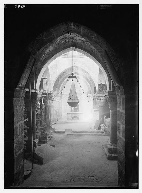 Repair work in Church of [the Holy] Sepulchre. Chapel taken from stairway leading down.