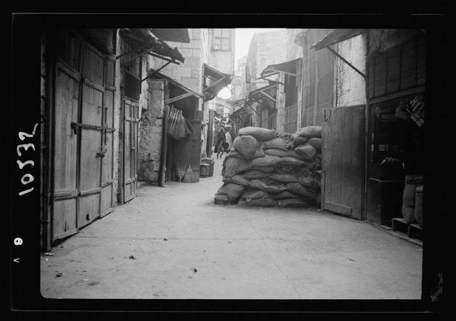 Sand bags used by police in Jewish street, J'lem. [i.e., Jerusalem]