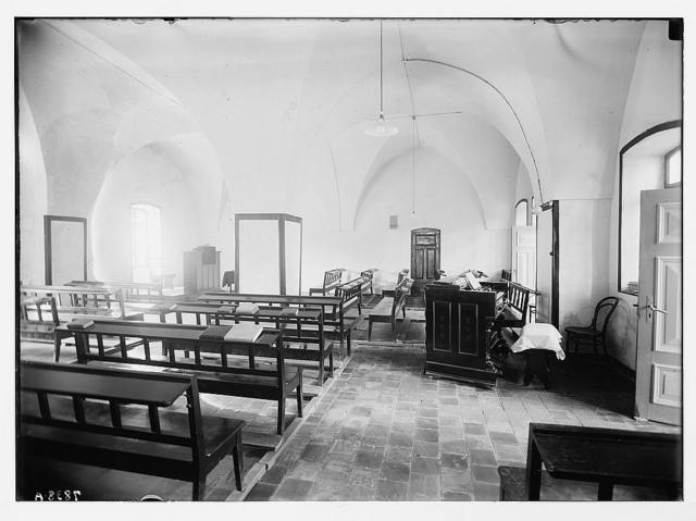 Scots Mission Hospital, Tiberias. Interior of chapel or room for religious gathering.