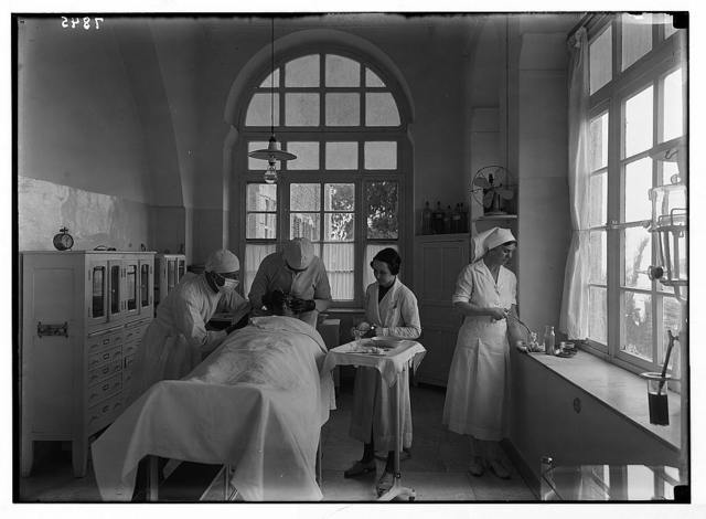 Scots Mission Hospital, Tiberias. The operating theatre. Patient, eye case.